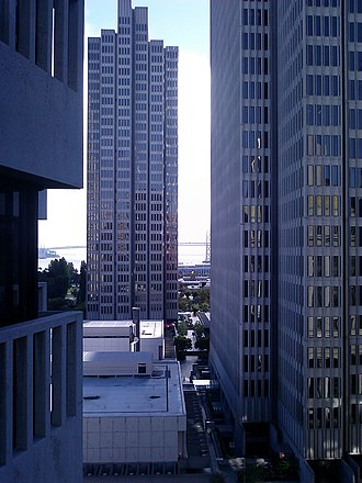 Skyscrapers are common in northeast San Francisco, the city's downtown. San Francisco towers and angles.jpg