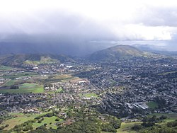 The city of San Luis Obispo looking east from the top of Bishop Peak.