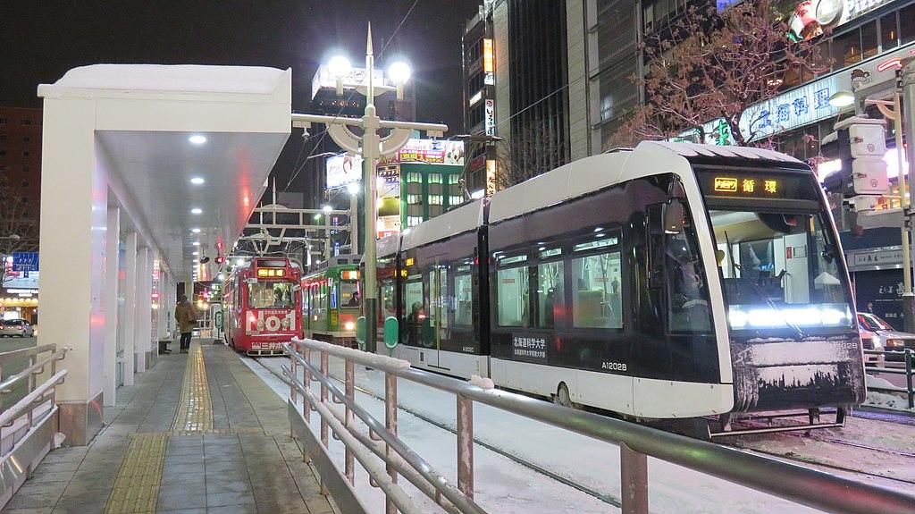 Sapporo tram Susukino station platform 20160207 205636