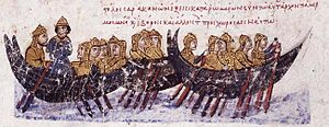 Emirate of Crete - The Saracen fleet sails towards Crete. Miniature from the Madrid Skylitzes manuscript.