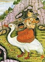 De hindoegodin Saraswati rijdt op een witte vogel en houdt een bīn (rudra vīnā) vast