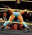 Sasha Banks Backslide WrestleMania Axxes 2015.jpg