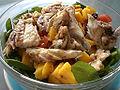 Sea bass, mango and spinach salad Ensalada de robaliza, mango e espinacas (512034710).jpg