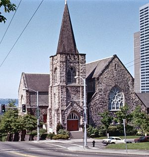Trinity Parish Church (Seattle) - The church viewed from the east in 1982. Since the late 1980s, photos taken from this angle have included downtown skyscrapers prominently in the background.