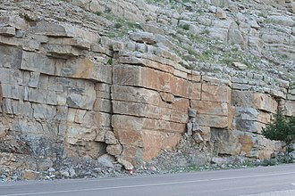 Musandam Peninsula - Image: Sedimentary Rock Layers near Khasab in Musandam Oman