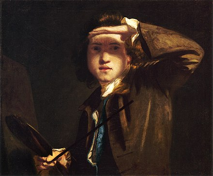 Joshua Reynolds was a member of the Society (self portrait c. 1748). Self-portrait c.1747-9 by Joshua Reynolds (2).jpg