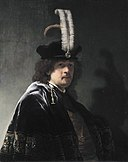Self portrait wearing a white feathered bonnet, by Rembrandt van Rijn.jpg