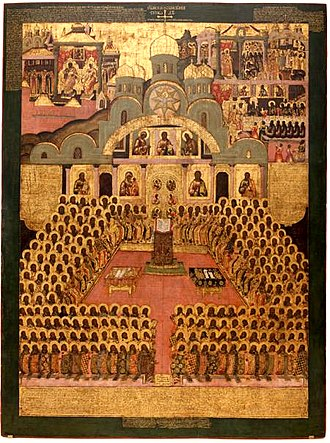 Tarasios of Constantinople - Icon of the Seventh Ecumenical Council (17th century, Novodevichy Convent, Moscow)