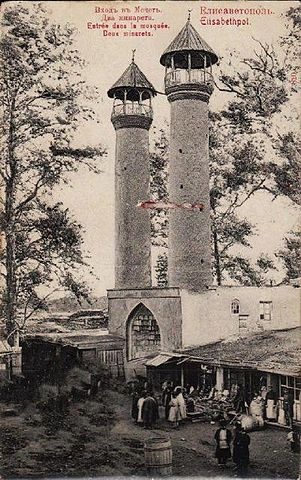 Шах-аббаская мечеть в Гяндже, при медресе которой некогда учился Мирза Шафи. Фотография начала XX века