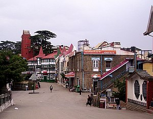 Mall Road, Shimla - Scandal point, as seen from the Ridge, Shimla