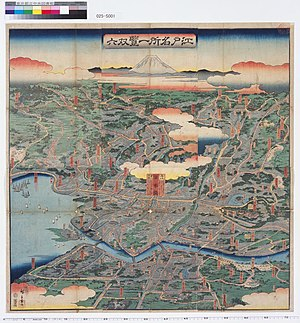 Yamanote and Shitamachi - A view of Yamanote (above) and Shitamachi (below) by Utagawa Hiroshige. Nihonbashi is at the center of the map.