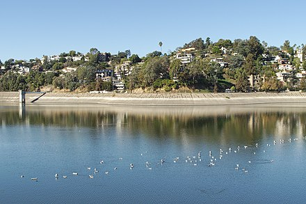 Looking west across the lower reservoir Silver Lake Reservoir looking west 2015-10-11.jpg