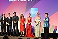 Simon Beaufoy, Valerie Faris, Jonathan Dayton, Elisabeth Shue, Andrea Riseborough, Emma Stone and Billie Jean King at Battle of the Sexes, London (37526182652).jpg