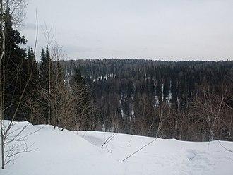 Krapivinsky District - Snow precipice in Krapivinsky District, Kemerovo Oblast, Russia
