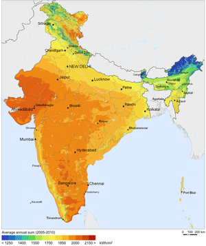 Solar power in India - Solar irradiance in India
