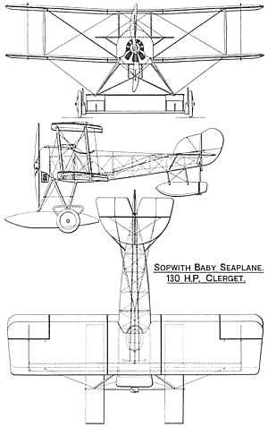 Sopwith Baby - Sopwith Baby drawing (shown on beaching gear)
