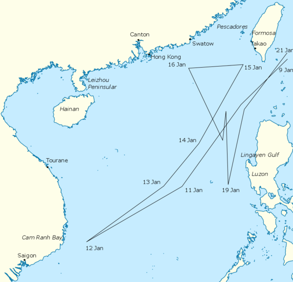 The Third Fleet's approximate route between 9 and 21 January 1945 South China Sea raid.png