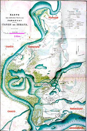 Fortress of Humaitá - Humaitá in context.  The small area where the Allies were bogged down for two and a half years in the wetlands of southwestern Paraguay. Notice the scale on the map. (Schneider, 1872)