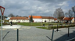 Square in Dalešice, Třebíč District.jpg