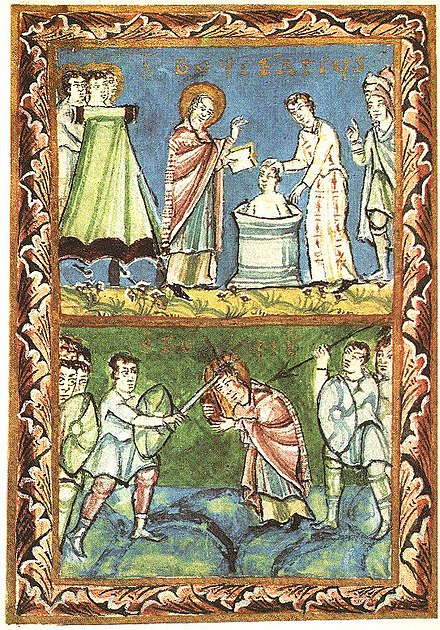 Fulda Sacramentary, Saint Boniface baptizing (top) and being martyred (bottom) St Boniface - Baptising-Martyrdom - Sacramentary of Fulda - 11Century.jpg