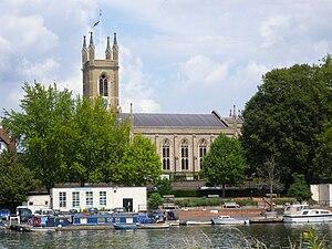 St Mary's Parish Church, Hampton - Image: St Mary's Parish Church Hampton From the River