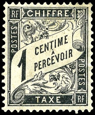Postage due - A French 1-centime postage due stamp from 1882.