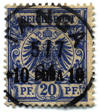 "Postage stamps and postal history of the German colonies - A German stamp surcharged 10 pesa in 1893 for use in German East Africa, with cancellation mark from ""Tanga""."