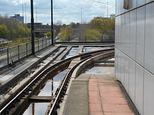 Trafford Park Line - Where the new line will start. Provision was made for a future junction with the Trafford Park Line at the end of Pomona tram stop, branching away from the Eccles Line.