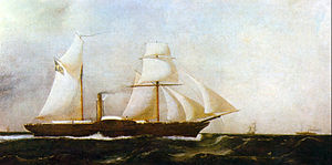 Painting depicting a two-masted, side-wheel steamer in full sail plowing through choppy seas with other ships in the distance