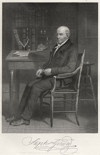 Steel engraving of Stephen Girard, with his signature, by Alonzo Chappel,