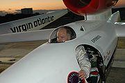 Fossett at NASA Kennedy Space Center's Shuttle Landing Facility seated in the Virgin Atlantic GlobalFlyer cockpit