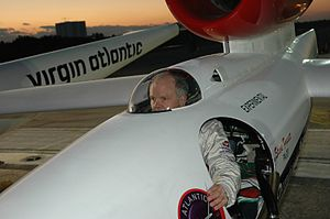 Steve Fossett - Fossett at NASA Kennedy Space Center's Shuttle Landing Facility seated in the Virgin Atlantic GlobalFlyer cockpit