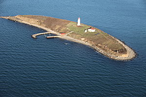 Falkner Island - Aerial view after Hurricane Sandy