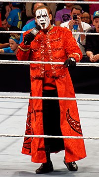 Sting wearing a red longcoat standing in a wrestling ring talking on a microphone
