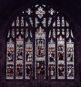 St John's Church, Barmouth - The East Window of St John's Church above the High Altar. The Window depicts Christ in His Majesty with his twelve Disciples and St John the Evangelist
