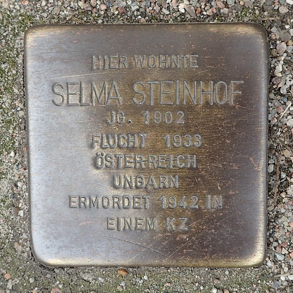 File:Stolperstein Bad Segeberg Lübecker Straße 12 Selma Steinhof.jpg