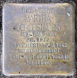 Photo of Martha Schlesinger brass plaque
