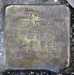 Photo of Marta Ephraim brass plaque