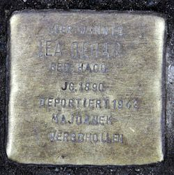 Photo of Lea Behar brass plaque