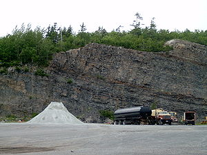 Stratum - Goldenville strata in quarry in Bedford, Canada. These are Middle Cambrian marine sediments. This formation covers over half of Nova Scotia and is recorded as being 29,000 feet thick in some areas.