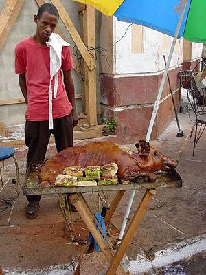 Street Vendor with Barbecued Pig - Santiago de Cuba - Cuba