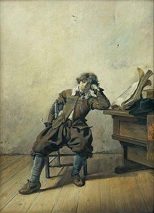English: A Young Student at His Desk: Melancho...