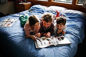 Everyday life - Children reading books.