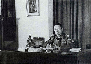 Panglima - Major General Suharto in his office as Panglima Kostrad, (Commander of the Strategic Reserve Command), 1963