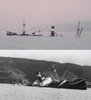 Sunken steamer Carlos Haverbeck and Canelos - Chile, in the autumn of 1960.png