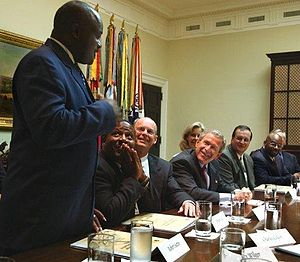 InnerChange Freedom Initiative - Robert Sutton, an IFI graduate, speaking in the Roosevelt Room in the White House at a rountable discussion about the program, with President of the United States George W. Bush listening, on Wednesday June 18, 2003