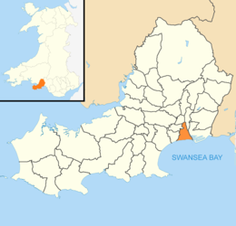 Swansea Wales communities - Castle locator.png