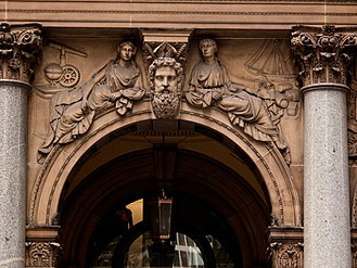 General Post Office, Sydney - Example of the established Classical allegorical figures used on the spandrels of the George Street façade.