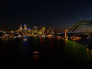 Kirribilli, New South Wales - The Sydney evening skyline viewed from an apartment in Kirribilli.