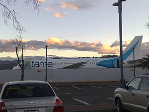 Mariscal Lamar International Airport - A TAME Airbus A320 with the new colors parked in the Mariscal Lamar Airport in Cuenca, Ecuador